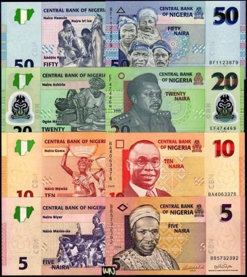 Nigeria 4 Note Set 5 to 50 Naira 2006 GEM UNC