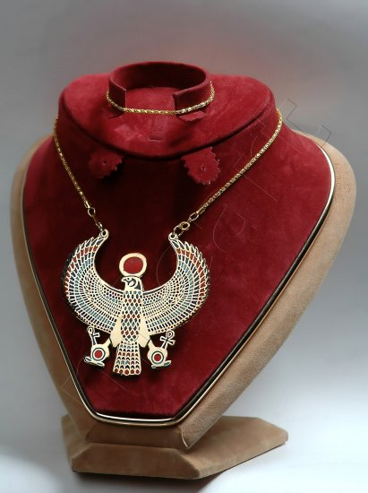 Pretty Egyptian Horus As Falcon Ankh Pectoral Necklace