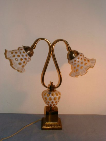 Fenton Opalescent Honeysuckle Coin Dot Lamp