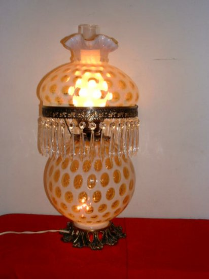 Fenton Opalescent Honeysuckle Coin Dot Lamp (round)