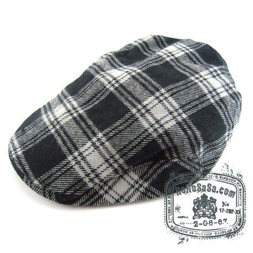 Man Woman Newsboy Style Black / White  Multi Col Beret Hat