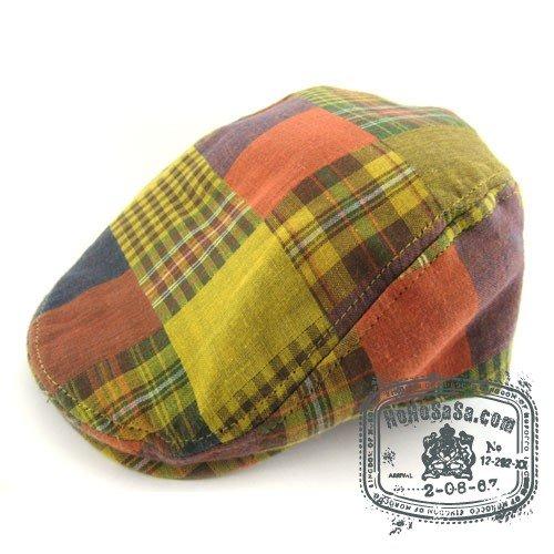 Man Woman Newsboy Style Yellow / Red Pattern Multi Col Beret Hat