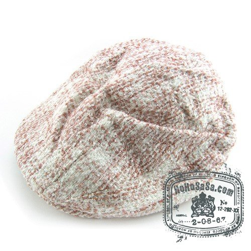 Man Woman Newsboy Style White / Pink  Multi Col Beret Hat