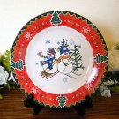 Montgomery Ward Salad Plate Country Pals Snowman  Holiday Christmas