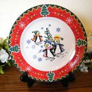 Montgomery Ward Salad Plate Country Pals Penguins  Holiday Christmas