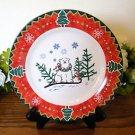 Montgomery Ward Salad Plate Country Pals Polar Bear  Holiday Christmas