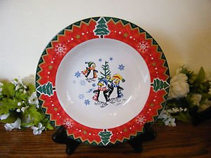 Montgomery Ward Soup Bowl Country Pals Penguins Holiday Christmas
