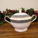 Mikasa Chaucer Sugar Bowl and Creamer Bone China  Blue White Gold