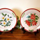 American Atelier Holiday Floral Salad Plates Stoneware