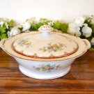 Ransom Japan Covered Vegetable Bowl Floral Rust