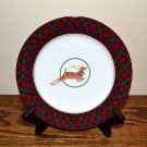 Arita Deer Salad Plate Holiday Tartan Plaid