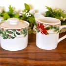 American Atelier Holiday Floral Sugar Bowl and Creamer Stoneware