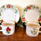 American Atelier Holiday Floral Cups and Saucers Stoneware
