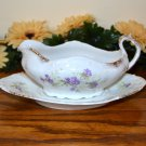 Haviland Gravy Boat and Plate Brushed Gold Purple Flowers  Mark 98 99