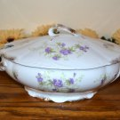 Haviland Oval Tureen Brushed Gold Purple Flowers Mark 98