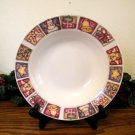 Gibson Patchwork Quilt Soup Bowls Christmas Tree Holiday Country