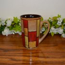 Pier 1 Mosaic Latte Coffee Mugs Blocks