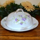 Haviland Butter Dish Brushed Gold Purple Flowers  Mark 98