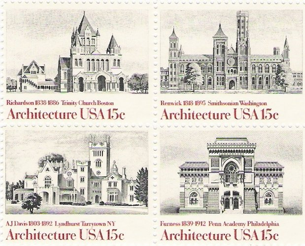US Scott 1841a - Block of 4 - American Architecture 15 cent - Mint Never Hinged