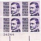 US Scott 1281 - Plate Block of 4 Plate #34244 - Francis Parkman - Mint Never Hinged - 3 cent
