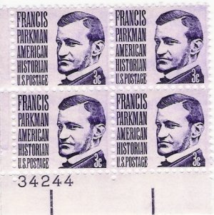 US Scott 1281 - Plate Block of 4 Plate #34244 - Francis Parkman - Mint Never Hinged - 3 cent