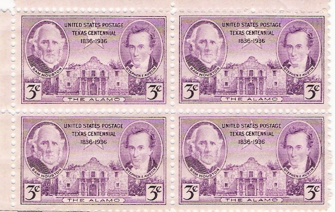 US Scott 776 - Block of 4 - Texas 100th Anniversary - 3 cent Mint