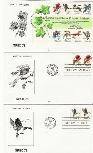 US Scott 1757 + a-h set of 9 covers 1978 Capex in Canada