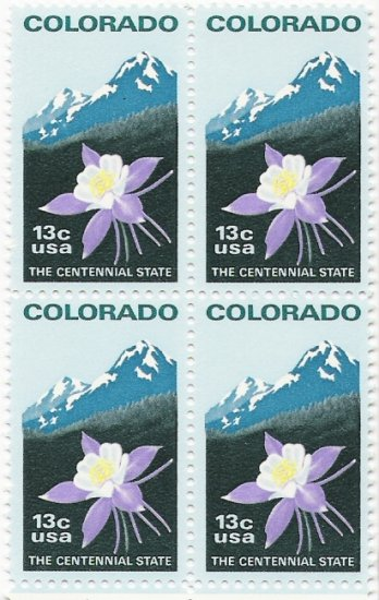 US Scott 1711- Block of 4 - Colorado Statehood - 13 cent - Mint Never Hinged