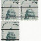 US Scott 1591a PreCanceled - Block of 3 - Capitol - 9 cent - Mint Never Hinged