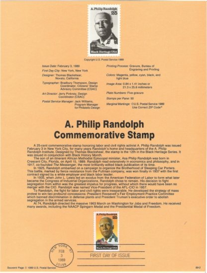 US Scott 2402 - First Day Souvenir Page - Asa Phillip Randolph