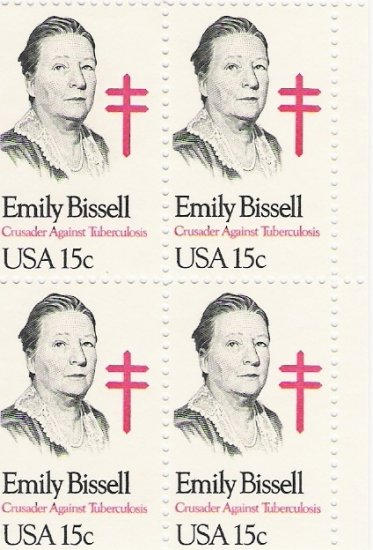 US Scott 1823 - Block of 4 - Emily Bissell 15 cent - Mint Never Hinged