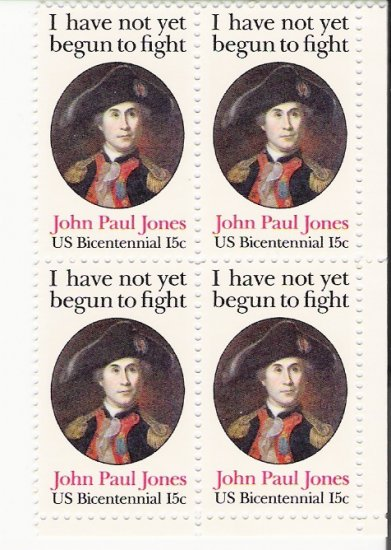 US Scott 1789 - Block of 4 - John Paul Jones 15 cent - Mint Never Hinged
