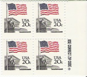 US Scott 1894 - Zip Block of 4 - Flag over Court - 20 cent- Mint Never Hinged