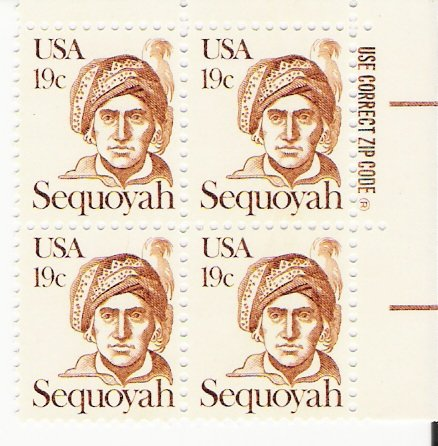 US Scott 1859 - Block of 4 - Sequoyah - 19 cent - Mint Never Hinged