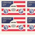 US Scott C90 - Zip Block of 4 - Plane Globes and Flag 31 cent - Mint Never Hinged