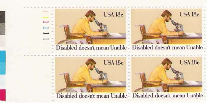 US Scott 1925 - Plate Block of 4 - Year of Disabled - Mint Never Hinged - 18 cent