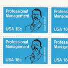 US Scott 1920 - Plate Block of 4 - Professional Management - Mint Never Hinged - 18 cent