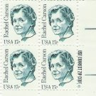 US Scott 1857 - Zip Block of 4 - Rachel Carson 17 cent - Mint Never Hinged