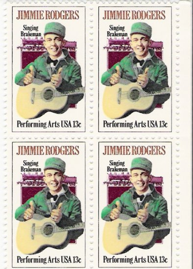 US Scott 1755 - Block of 4 - Jimmie Rodgers 13 cent - Mint Never Hinged