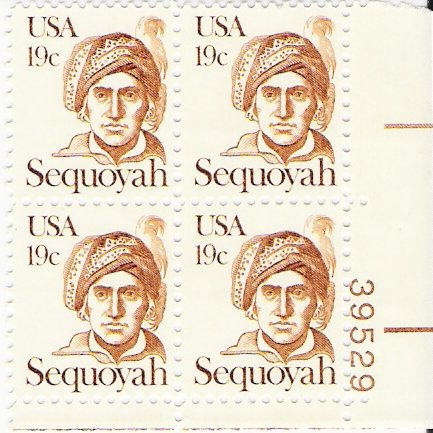 US Scott 1859 - Plate Block of 4 - Sequoyah - Mint Never Hinged - 19 cent