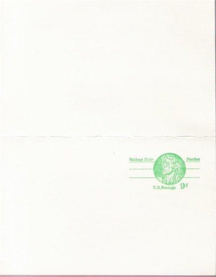 1977, US Scott UX72, DOUBLE 9-cent Post Card, Nathan Hale, Mint