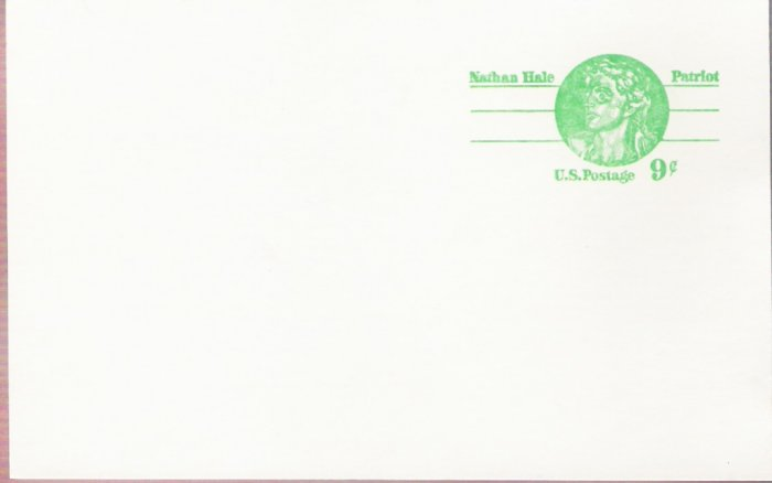 1977, US Scott UX72, 9-cent Post Card, Nathan Hale, Mint