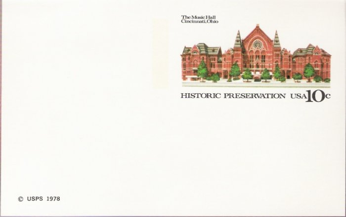 1978, US Scott UX73, 10-cent Post Card, Cincinnati Music Hall, Mint