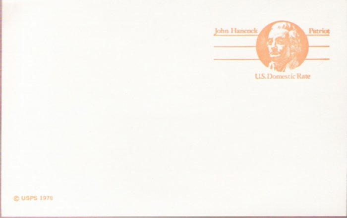 "1978, US Scott UX74, 10-cent """"Domestic Rate"""" Post Card, John Hancock, Mint"