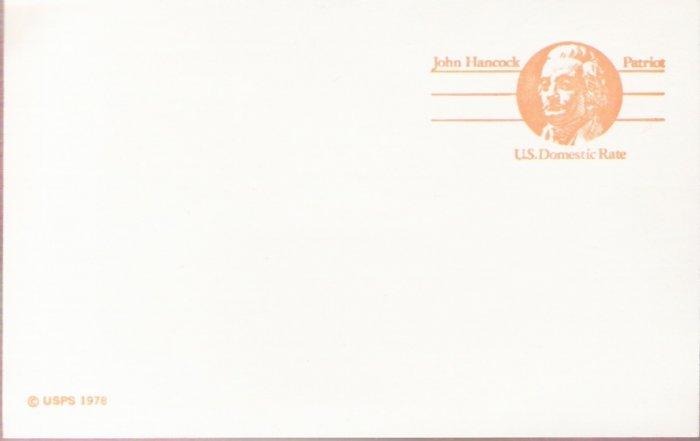 "1978, US Scott UX74, 10-cent """"Domestic Rate"""" Post Card, John Hancock, Mint"