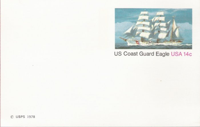 1978, US Scott UX76, 14-cent Post Card, Coast Guard Eagle, Mint