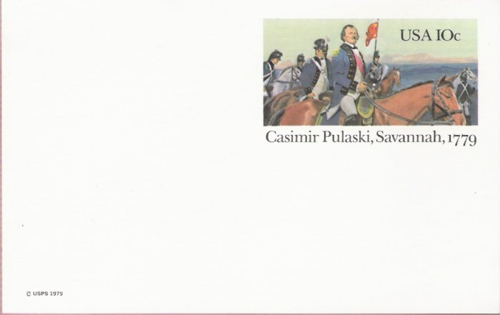 1979, US Scott UX79, 10-cent Post Card, Casimir Pulaski, Savannah, 1779, Mint