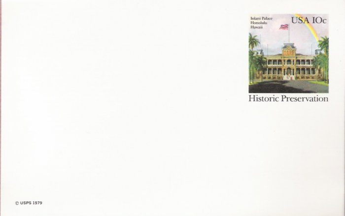 1979, US Scott UX81, 10-cent Post Card, Iolani Palace, Honolulu, Hawaii, Historic Preservation,