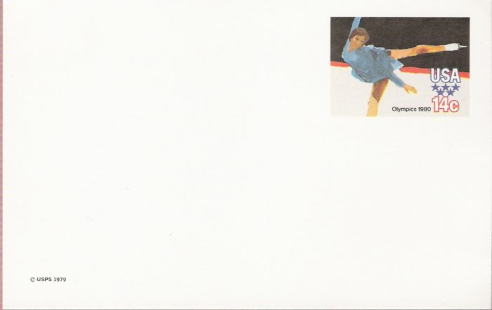 1980, US Scott UX82, 14-cent Post Card, 1980 Olympics, Figure Skating, Mint