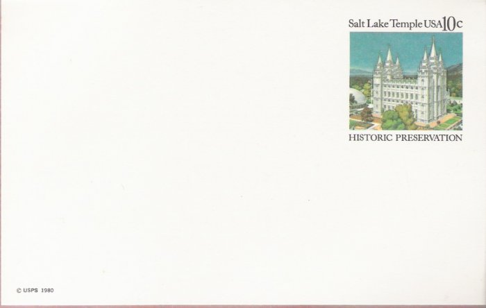 1980, US Scott UX83, 10-cent Post Card, Salt Lake Temple, Salt Lake City, Utah, Historic Preserv